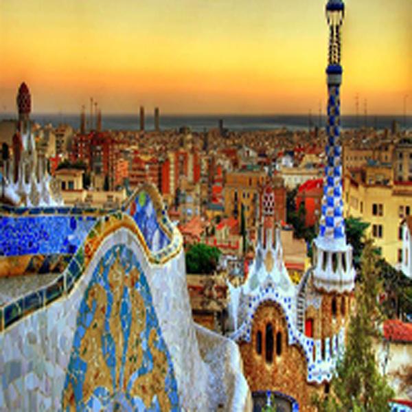 Sunset views of Barcelona