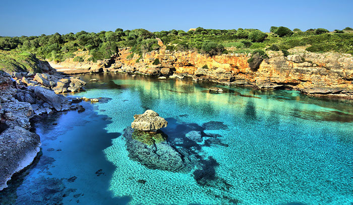 Beautiful blue ocean in Majorca