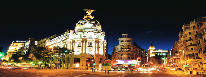 Gran Via, Madrid lit up at night