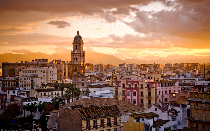 Sunset views of Málaga